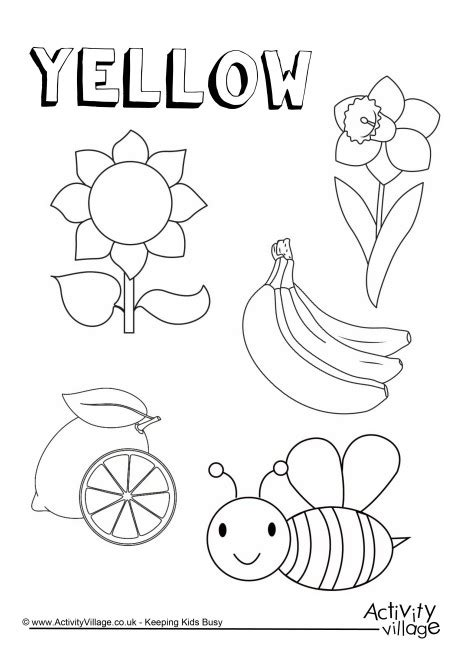 yellow coloring pages for toddlers yellow things colouring page