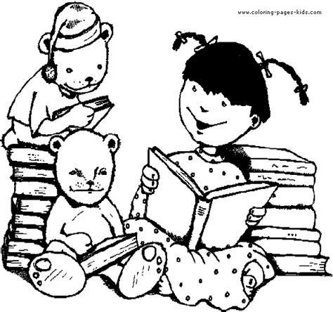 family reading coloring page girl color page coloring pages for kids family people