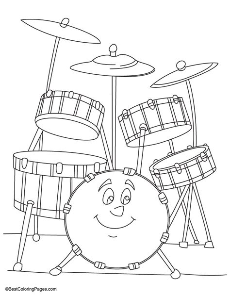 drum set coloring page download free drum set coloring