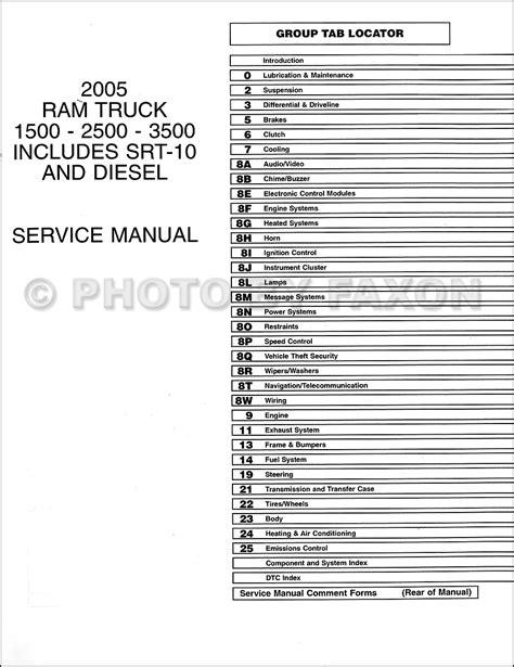 free service manuals online 2005 dodge ram 1500 lane departure warning 2005 dodge ram truck repair shop manual 10 vol set factory reprint 1500 2500 3500