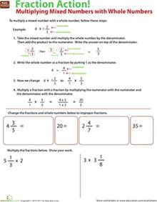 multiply mixed numbers with whole numbers worksheet