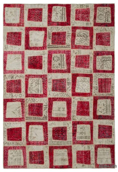 Overdyed Patchwork Rugs - k0022027 beige dyed turkish patchwork rug