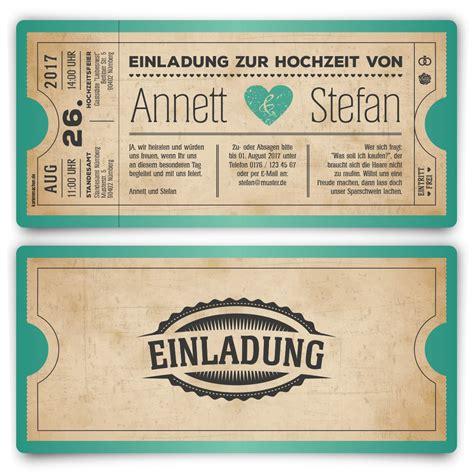 Hochzeitseinladung Als Ticket by Einladungskarten Als Ticket Geburtstag Vintage