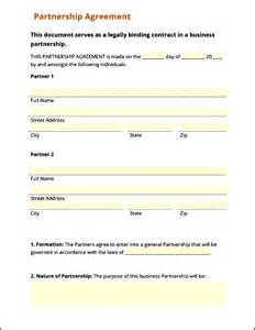 Corporate Partnership Agreement Template by Simple Business Partnership Agreement Corporate