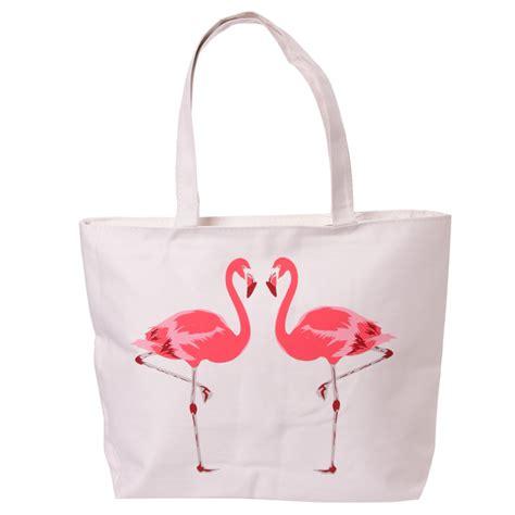 Tas Fossil Flamengo Shopper Bag flamingo design cotton bag with zip and lining 16540 puckator ltd