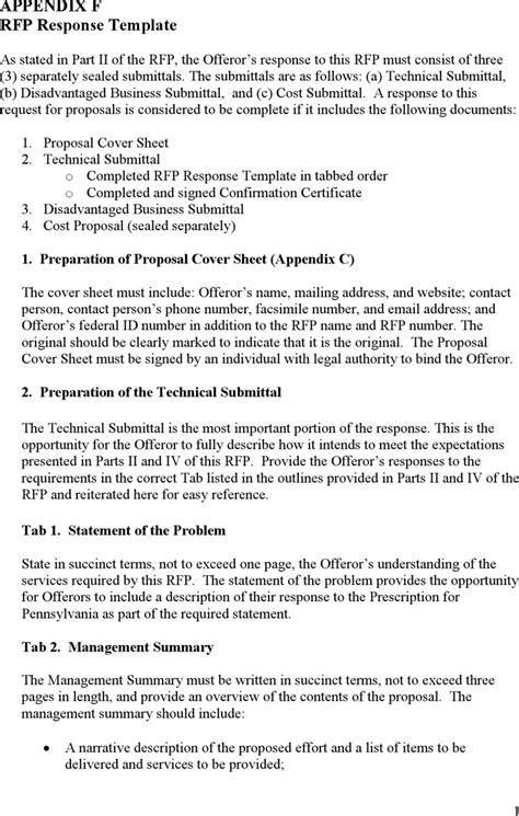 rfp reply template the appendix f rfp response template can help you make a