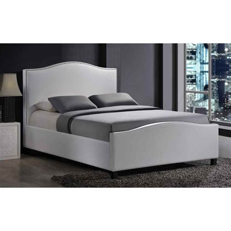 White Fabric Bed Frame Chrome Studded White Fabric Bed Frame King Size 5ft Free Next Day Delivery