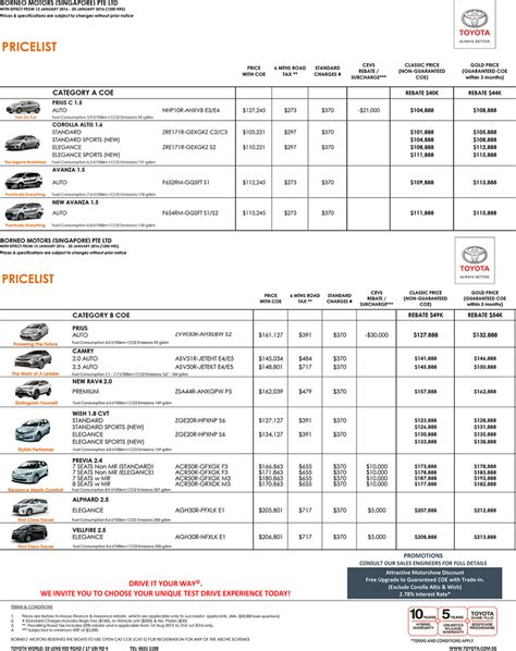 Toyota Car Price List Singapore Singapore Motorshow 2016 Toyota Price List Deals