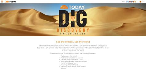 Todays Sweepstakes - today s dig discovery sweepstakes discover the dig