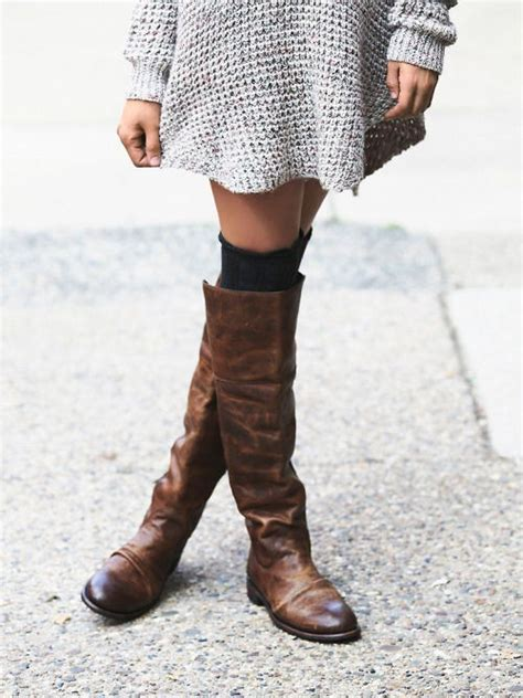 thigh high brown leather boots pictures photos and