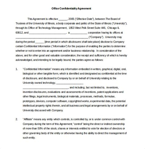 32 Word Confidentiality Agreement Templates Free Download Free Premium Templates Office Agreement Template