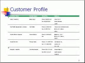 customer profile sheet template free powerpoint report sle customer profile