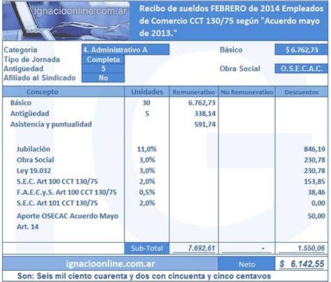 empleados de comercio liquidacin de vacaciones enero 2013 ejemplo empleados de comercio liquidaci 243 n de haberes febrero 2014