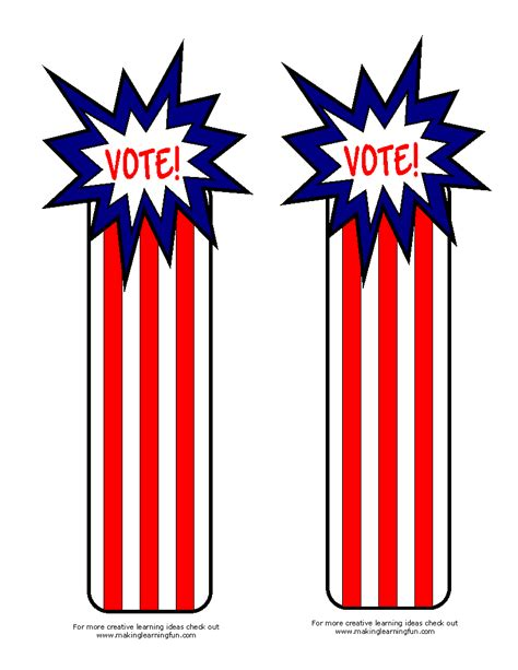 printable election bookmarks fun learning printables for kids