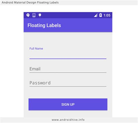 layout material design android material design floating labels aj apps