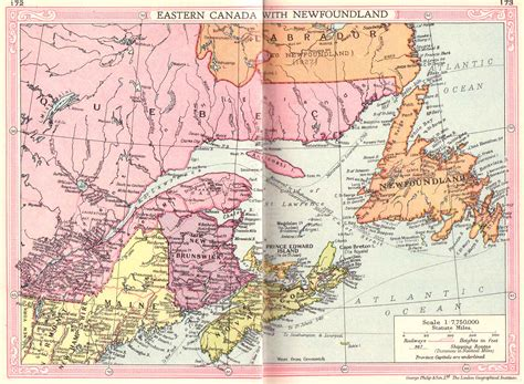 map eastern canada provinces canada east and newfoundland map 1935 philatelic