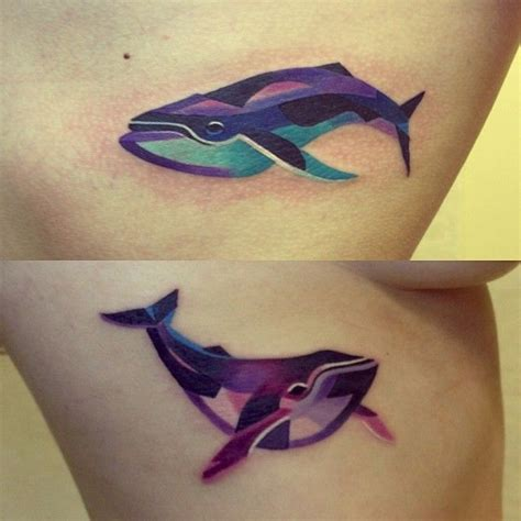 unisex tattoos for couples whales by unisex watercolor tattoos