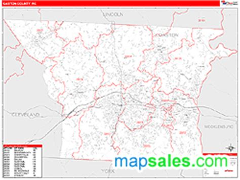 zip code map gastonia nc gaston county nc zip code wall map red line style by