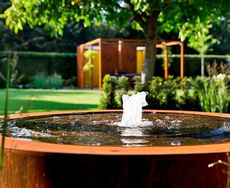 corten steel modern water feature  modern garden deisgn