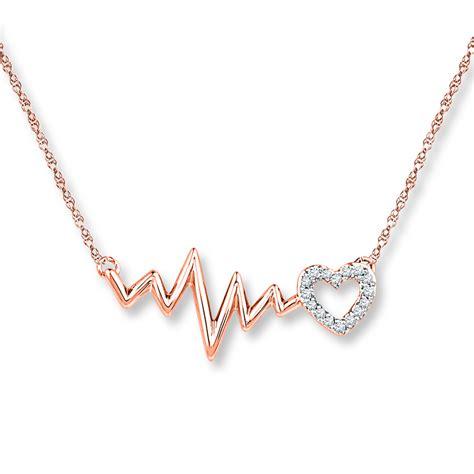 New Arrival Gendis Set By Zm heartbeat necklace 1 20 ct tw diamonds 10k gold
