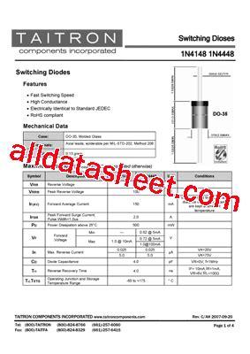 1n4148 diode datasheet pdf 1n4148 datasheet pdf taitron components incorporated