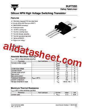 transistor datasheet vishay buf725d datasheet pdf vishay siliconix