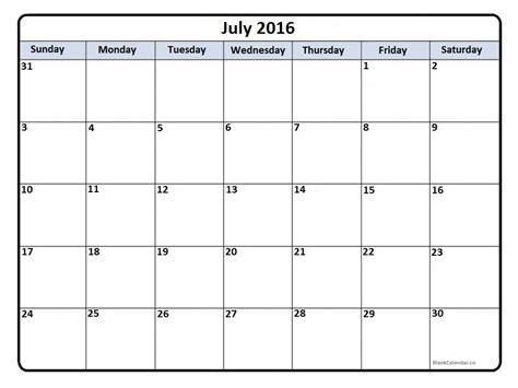 Calendar For July 2016 July 2016 Calendar July 2016 Calendar Printable