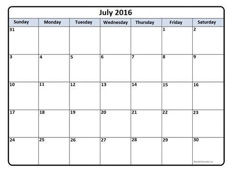 Calendar Printable 2016 July July 2016 Calendar July 2016 Calendar Printable
