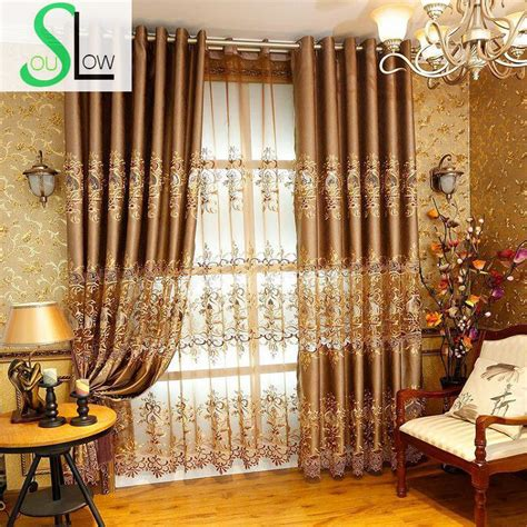 gold curtains living room aliexpress com buy slow soul european style hollow water