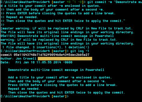 powershell comment section bash add line break to git commit m from the command