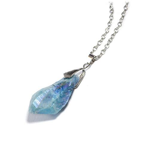 iridescent icy blue quartz necklace