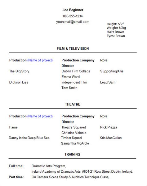 actors resume template acting resume exle