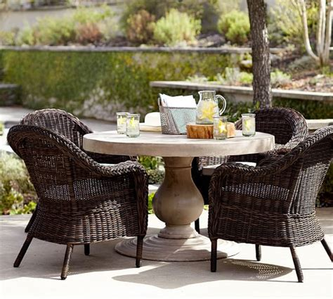 Geneva Concrete Round Dining Table & Torrey Roll Arm Chair