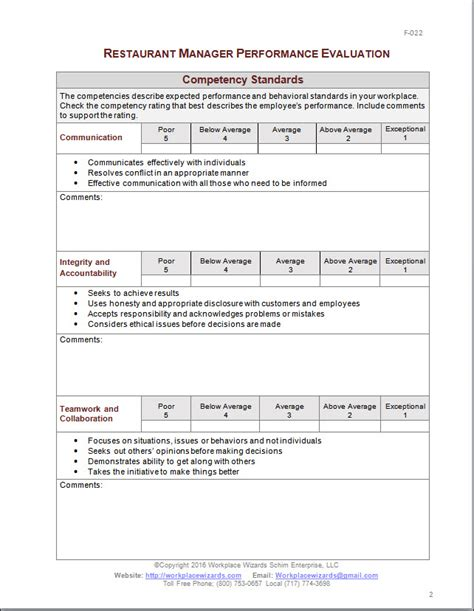Restaurant Manager Performance Evaluation Form Manager Feedback Template