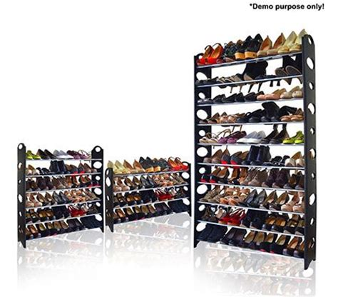 shoe storage sale black 50 pair stackable shoe storage rack