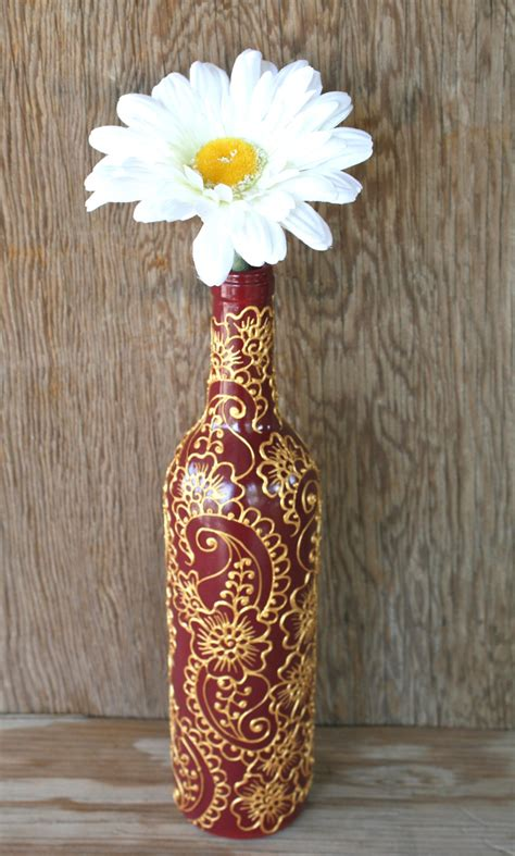 Wine Bottle Vase by Painted Wine Bottle Vase Brick With Gold Accents