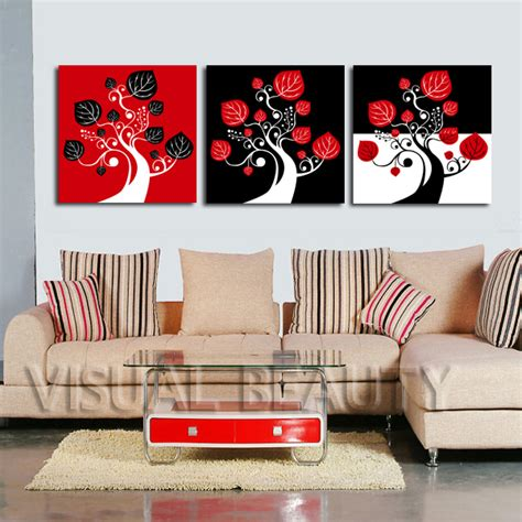 aliexpress com buy unframed 3 sets abstract tree modern canvas wall art home wall decor hd free shipping red and black abstract tree panel wall art