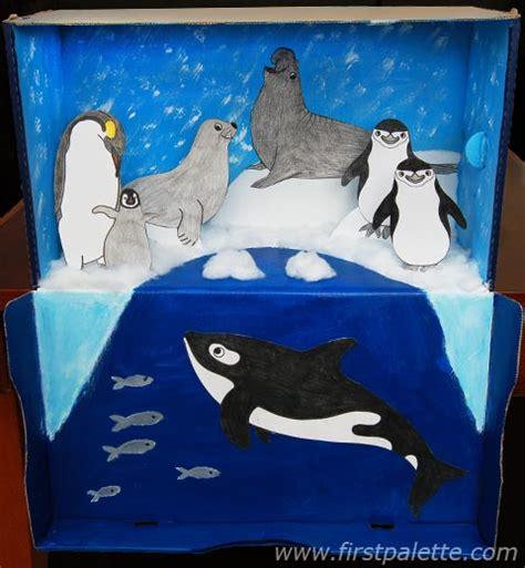 printable diorama animals polar habitat diorama craft kids crafts firstpalette com
