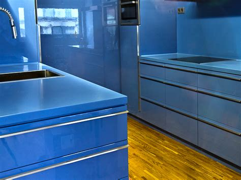 blue kitchen countertop and sink corian blue powder