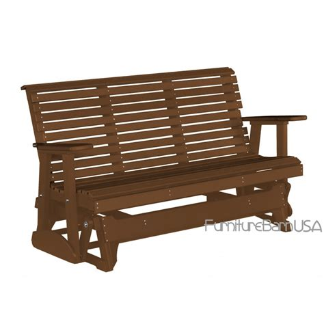 gliding bench luxcraft polywood outdoor 5 foot rollback glider bench