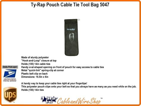 ty rap cable tie tool bag large carry pouch sky