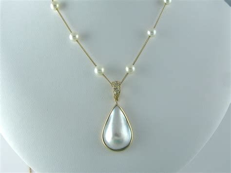 custom mabe pearl pendant necklace with enhancer by the