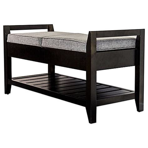 buy storage bench buy upholstered mahogany wood storage bench from bed bath