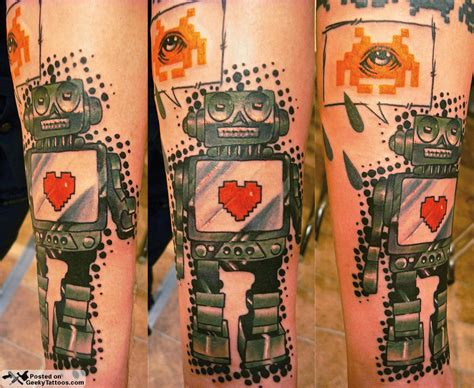 robot tattoo robot speaks space invader geeky tattoos