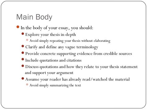 essay structure main body english 104 structuring your essay