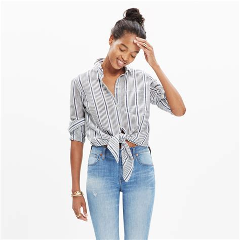 Tie Up Shirt madewell striped tie front shirt in gray lyst