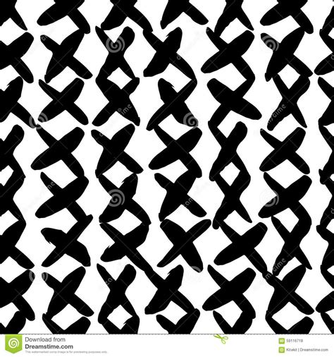 vector pattern rough hand drawn seamless cross shapes pattern dry brush and