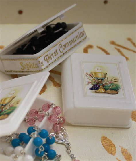 Wedding Bible Favors by Personalized Communion Rosary In A Bible Box Favors