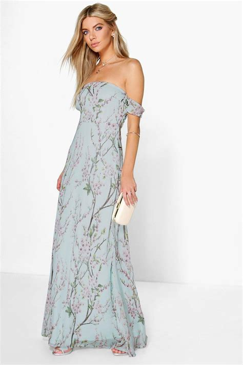 Maxy Dress floral the shoulder maxi dress at boohoo