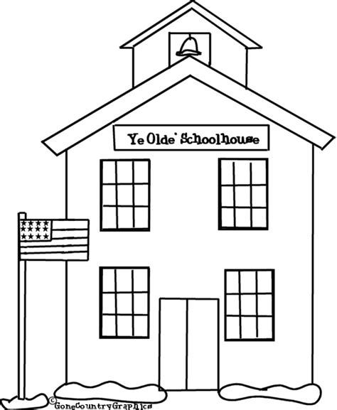 coloring page school building school 25 buildings and architecture printable